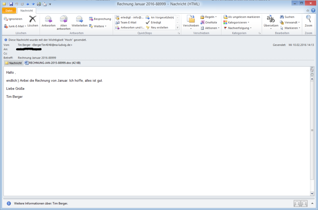 Screenshot der Spam-Email